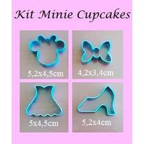 Cortador Minnie 4 Pçs P/ Cupcake(cabeça,laço,sapato,vestido)