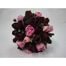 Buque Noiva Rosas Vermelhas Aveludada Tulipas Permanente