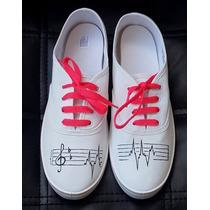 Zapatillas Panchas Pintadas Personalizadas Talle 38 Musica