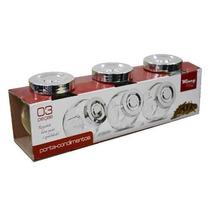 Kit 3 Potes Porta Temperos E Condimentos Em Vidro Vda0402
