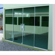 Porta Blindex 2,10 X 2,00 De Correr Vitron 8mm Verde / Fume