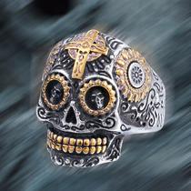 Anel Caveira Aço Titanio Ouro Masculino Jimmy Joe Skull