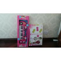Combo Oportunidad. Microfono Barbie Mas Teclado Rock Star.