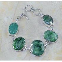 Pulseira Feminina Bracelete Prata 925 Esmeraldas Naturais