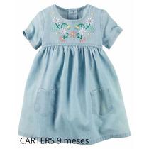 Carters Vestido De Jean Con Bordado Bebe Nena 9 Meses