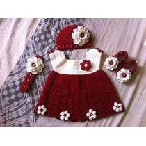 Conjunto Vestido Gorro Zapatos Tejido A Crochet Tema Navidad