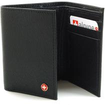 Billeteras Alpine Swiss Classic Trifold (cuero Real) Negro
