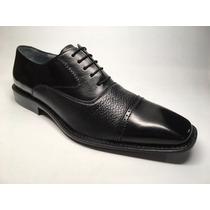 Franco Cuadra Zapato Negro Piel Becerro Italiano Y Venado