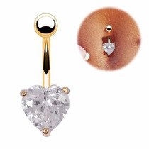 Piercing De Coração De Umbigo Dourado Banho Ouro 18k
