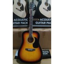 Guitarra Acustica Electroacustica Funda Afinador Correa Puas