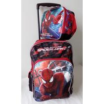 Maleta Morral Escolar Hombre Araña Spiderman+ Lonchera, Cars