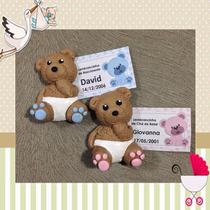 Lembrancinhas Nascimento Ursinho De Biscuit C/ Imã E Tag
