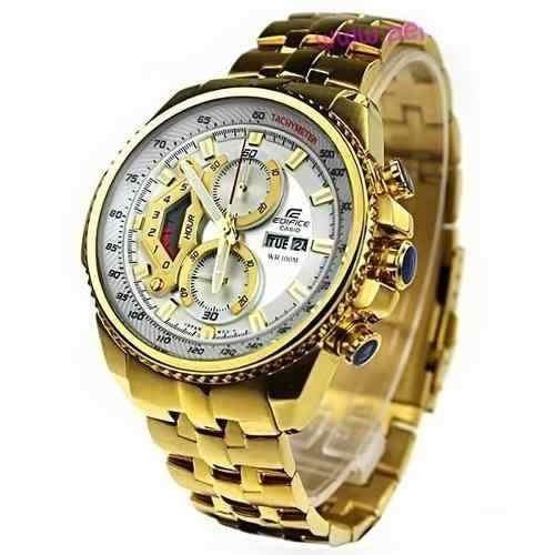 4ae88963c8c Relogio Casio Edifice Ef 558 Dourado Branco Original Gold - R  241 ...