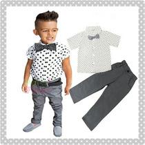 Conjunto Casual Para Niños, Pantalon, Camisa Y Moño