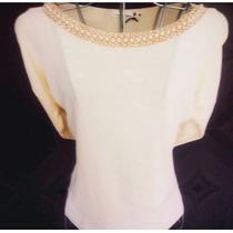 Blusa Pedraria Bordada Customizada Pérola Camiseta Off