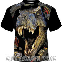 Camiseta Estampa Dinossauro 3d - Camisa Dinossauro - 100%