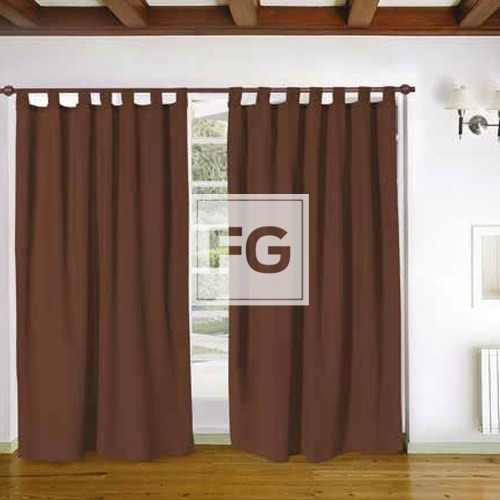 Juego Cortinas Tela Madras Chocolate 2 Panos 140x2mt Marron 699 - Cortinas-marron-chocolate
