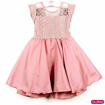 Vestido Infantil Daminha Florista Princesa Luxo Com Tiara