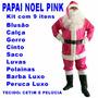 Roupa De Papai Noel Fantasia Rosa Pink Barba Peruca Luxo U5