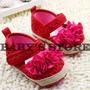 Sandalias Valerinas Zapatos Para Bebe Rojo Tejido Flores