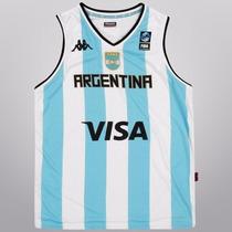 Camiseta Musculosa Kappa De Basquet Selección Argentina Niño