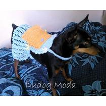 Vestido Em Crochê Azul P/ Cachorrinhas - P - Frete Grátis!