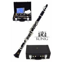 Clarinete Em Sib 17 Chaves Konig Kc 450 Com Estojo Luxo