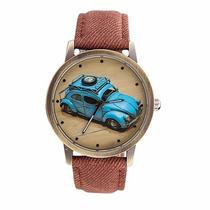 Relógio Social Fusca Azul Textura Jeans Bonito E Barato