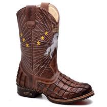 Bota Texana Masculina Country Aramada Cavalo Sertanejo Couro