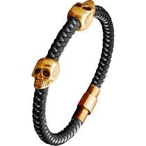 Brazalete Skull En Oro Sólido De 18k Piel Genuina Diego Vez