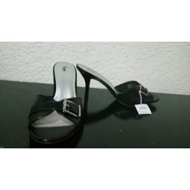 Sandalias Negras Tacón Medio Talla 13 Americano