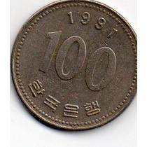 Moeda Coréia Do Sul 100 Won 1991 Lt 1879
