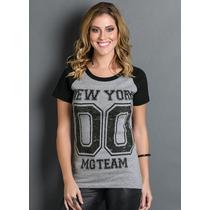 Camiseta Blusa T-shirt Feminina Estampa Número Manga Curta
