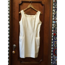 Vestido Crudo Cuello Cuadrado S/ Mangas Entallado - Algodón