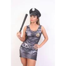 Fantasia Vestido Policial Lindo Luxo Acompanha Acessorios