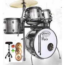 Bateria Rmv Rock 08/10/13/18/12cx + Banco + Kit De Pratos