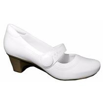 Sapato Branco Boneca Em Couro Para Enfermagem Salto Baixo