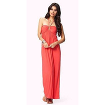 Vestido Largo Strapless Color Coral Forever 21 100% Original
