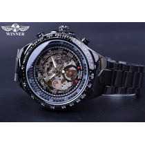 Relógio Masculino Preto Esqueleto Marca Winner