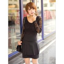 Vestido Negro Con Encaje Corto Moda Asiática Talla S Casual