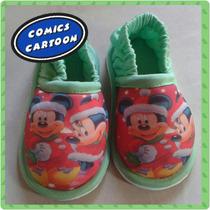 Babuchas Pantuflas Frozen Navidad Minnie Mickey Santa