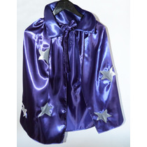 Capa Mago Violeta Con Estrellas Aplicadas