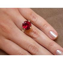 Anel Solitário Prata Pedra Grande Vermelha