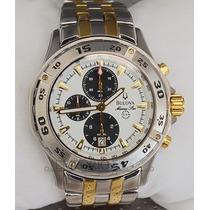Bulova Marine Star Branco/dourado +sedex - Original