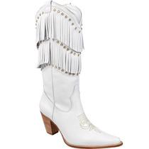 Bota Country Feminina Texana Lady Silver Com Franjas Couro F