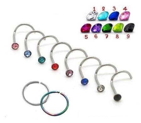Piercing De Nariz Kit Com 6 Nostril Reto Aço Cirúrgico R 12
