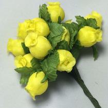 144 Mini Rosas Flores Rosinhas Artificiais Amarela Cetim