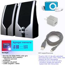 Paquete Bocinas 300w Pmpo Reproductor Mp3 Audifonos Cargador