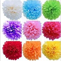 Pompones - Flores De Papel De Seda -sin Desplegar