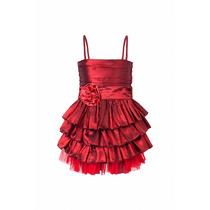 Vestido De Nena De Tafeta Con Volados Y Tul, N-0028